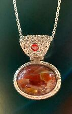 "Jasper Red Garnet Necklace Pendant Palladium over Silver 18"" long estate New"