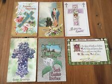 Lot of 6 ANTIQUE Vintage Embossed EASTER POSTCARDS Religious 1909-1911