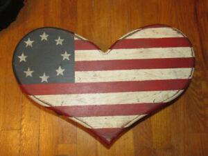 "Tole Painted Americana - American Flag - Heart Shaped - Wood Foot Stool 17"" NICE"