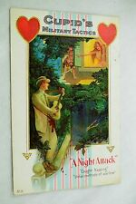 Circa 1910 Valentine Cupid's Military Tactics Night Attack Embossed Vintage P32