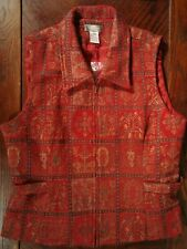 The Territory Ahead Red Floral Full Zip Women's Vest Size 16 NWOT