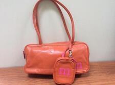 NINE WEST orange purse hand bag wallet faux leather 11 x 5.5 initial M