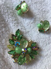 Vintage D&E Juliana Green Rhinestone Brooch Pin & Pierced Earrings Demi Parure