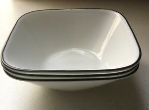 Corning Clean Lines Soup Cereal Bowl  (3 each) Black Rim