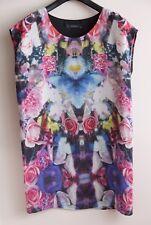 DECJUBA Size M 12 Floral Mirror-Image Silk Short Dress, TUNIC, Long Top EUC