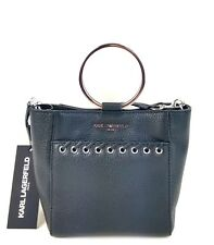 Karl Lagerfeld Tote Small Pebble Leather Wyona Ring Handle Handbag (Black)