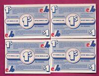 4 X RARE 1986 EXPOS 1$ COUPON REBATE PROVIGO FOOD  CARD  (INV# A7419)