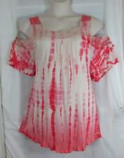Vintage America $65 Romantic Lace Pom Pom Dubarry Ecru Crinkle Fabric Top 3X NWT