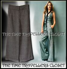 Kate Moss Topshop Grey Wool Tweed Thick Lined Wide Trousers Turn-ups UK 6 8 32L