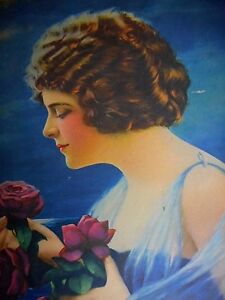 1930's ? Vintage Print Lady The Message 8.5x6.5 purple roses Beautiful Woman