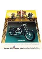 1972 Harley Davidson Sportster Motorcycle Vintage Advertisement Print Ad J416