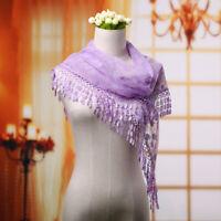 Women Lace Tassel Purple Floral Knit Mantilla Triangle Hollow Scarf Shawl Wraps