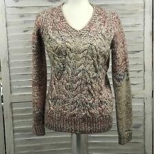 Elsananda Women Medium Pullover Sweater Cable Chunky Knit Alpaca Mohair Italian