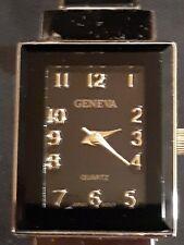 GENEVA Ladies Bangle Designer Fashion Watch/ Black Dial Black & Gold Band