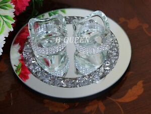 CRYSTAL DIAMANTE CRUSHED ROUND GLASS TRAY & 2 T-LIGHT CANDLE HOLDER WEDDING TRAY