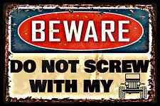 DO NOT SCREW WITH JEEP USA MADE! METAL SIGN 8X12 MAN CAVE BAR GARAGE WRANGLER CJ