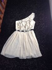 Ladies Women's Ivory One Shouldered Dress Size 10 From Lipsy Of London
