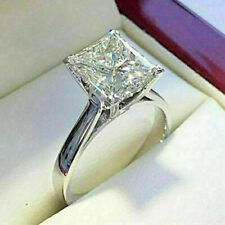 3.00Ct Princess Cut Moissanite Solitaire Engagement Ring 14k White Gold Finish