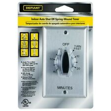 Defiant 20 Amp 60-Minute In-Wall Spring Wound Timer Switch Stainless Steel Plate