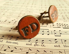 Personalised Gift Men Hand Stamped 2 Initials Leather Cufflinks - CHOOSE LETTERS