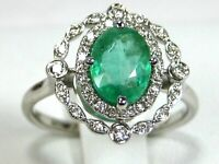 Ethiopian Emerald Ring 14K White gold Certified GIA Appraised Heirloom $3,967