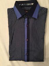 Di Nero Milano Men's Blue Plaid Shirt Cotton Long Sleeves Small