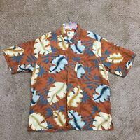 Banana Cabana Mens Large Orange Floral Silk Short Sleeve Hawaiian Shirt