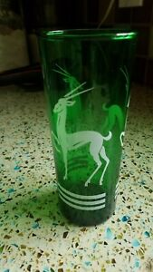 1930s Art Deco Vintage Gazelle Highball Cocktail Glasses Green  Set of 8