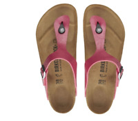 Birkenstock Womens Gizeh Metallic Raspberry Pink Leather Fashion Sandals 1016415