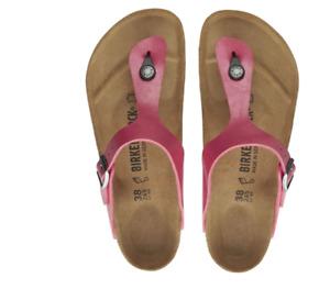 Birkenstock Womens Gizeh Metallic Raspberry Pink Leather Fashion Sandals 1016415