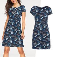 genial Marken Kleid Gr.38/40 M/L Sommerkleid Jerseykleid Shirtkleid blau