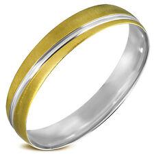 Edelstahl Armreif  geschlossen Silber Gold diagonales Band Arm   ME 278
