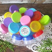 50 USA New Color Mix! Empty 1/4oz JARS Plastic Screw Caps Lids Containers 1tsp