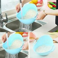 Double Handle Rice Basket Pasta Colander Sieve Filter Basket Kitchen Washer b9