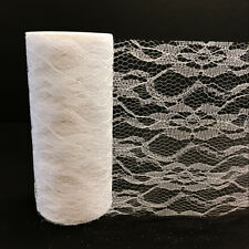 """6""""x10 Yards Orchid Lace Roll Fabric Tulle DIY Craft Wedding Party Decor White"""