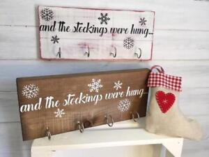 """Stocking hanger """"and the stockings were hung..."""" sign/Stocking hooks/Christmas"""