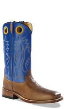 Old West Blue Mens Canyon Leather 13in Broad Square Toe Cowboy Boots