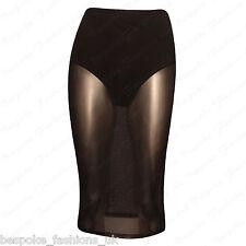 Ladies Womens Sheer Mesh See Through Stretchy Waistband Knee Length Pencil Skirt Black XL 14-16