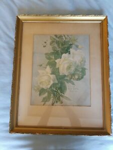 Paul de longpre antique prints white roses flower bees 1905