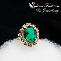 18K Rose Gold GP  Made With Swarovski Crystal Gorgeous Emerald Oval Cut Ring
