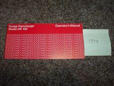 1974 Dodge Ramcharger AW 100 Owner Owner's User Guide Operator Manual 5.2L V8