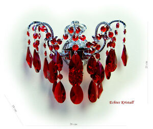 Crystal wall chandelier with real red crystals.
