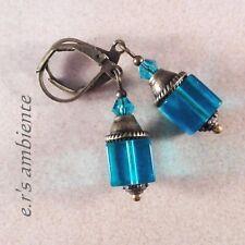 Ohrringe mit Glaswürfeln, Bronze-Maritim-Vintage-Look, Ohrhänger, 0183
