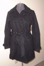 Free People Black Military Belted Wool Coat Size S/Small S/O $298 NWOT