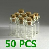 50PCS 2ml(16 x 30mm) Small Empty Clear Glass Bottles Vials Craft With Cork