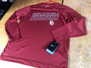 new Nike Dri-Fit OU OKLAHOMA SOONERS Red Long Sleeve T SHIRT Boys Youth L Large