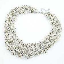 Ladies Chunky White and Gold Bead Necklace