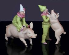 Rare Antique Pair German Hertwig Pink Pig Clown Miniature Bisque Circus Figures