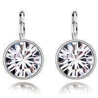 1Pair Women Austrian Hook Drop Hoop Crystal Earrings Ear Stud Dangle Jewelry Hot