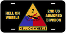 2nd US Armored Division Novelty Car License Plate Hell On Wheels